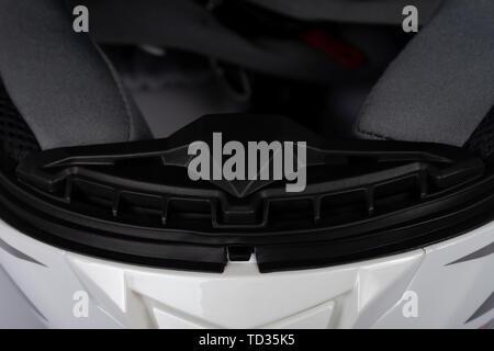 Detail of the system for breathing a full face helmet. - Stock Image