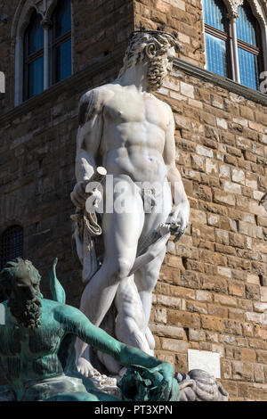 Replica of Michelangelo's David near the Palazzo Vecchio (Old Palace), the town hall of the city of Florence, Italy. It overlooks the Piazza della Sig - Stock Image