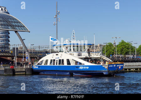 Ferry boat in Amsterdam, Netherlands - Stock Image