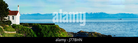 Big and Beautiful Mount Olympic national park panorama view from Victoria, BC, Canada - Stock Image