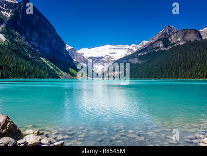 Beautiful views of Lake Louise in Banff National Park in the Rock Mountains of Alberta Canada - Stock Image