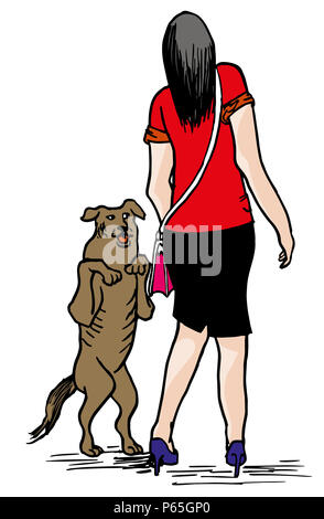 Young woman and dog.  illustration of happy street dog with scared business woman. - Stock Image