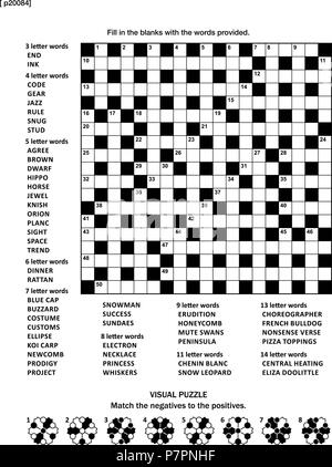 Puzzle page with two puzzles: 19x19 criss-cross (kriss-kross, fill in the blanks) crossword word game (English language) and abstract visual puzzle. - Stock Image