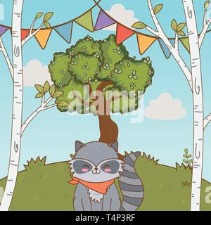 cute adorable animal raccoon birthday party outdoor scene festive cartoon vector illustration graphic design - Stock Image