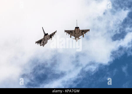 Two German Air Force, Eurofighter Typhoon EF2000 a twin-engine, canard-delta wing, multirole fighter. Photographed - Stock Image