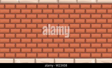 wide red brick wall - Stock Image