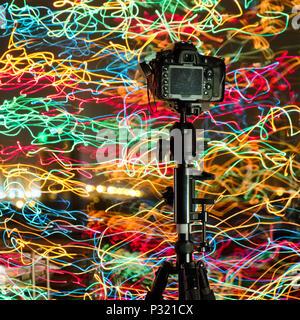 The Camera on tripod - Stock Image