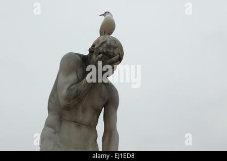 Cain (1896). Marble statue by French sculptor Henri Vidal in the Tuileries Garden (Jardin des Tuileries) in Paris, - Stock Image