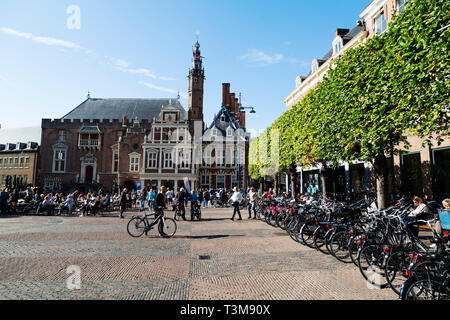 Bicycles parked on the Grote Markt in Haarlem, the Netherlands. The market square is in the centre of the city. - Stock Image
