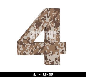 3D rendering Camouflage number 4 four. 3D render Illustration. - Stock Image