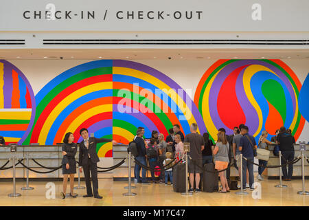Check-in Check-out at Marina Bay Sands, Singapore SIN - Stock Image