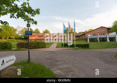 Youth hostel in  the village of Westensee, Westensee, district of Rendsburg-Eckernfoerde, Schleswig-Holstein, Germany, Europe - Stock Image