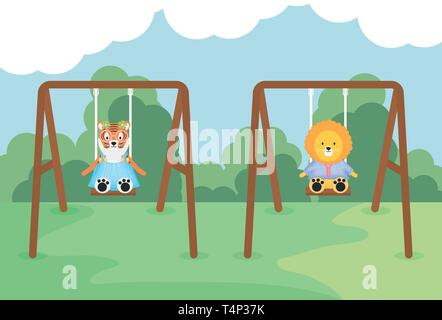 cute tiger and lion in swing vector illustration design - Stock Image