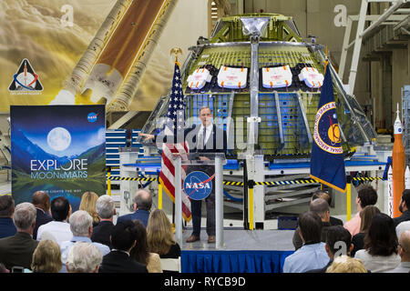 NASA Administrator Jim Bridenstine addresses employees on progress toward sending astronauts to the Moon and on to Mars while standing in front of the Orion spacecraft during a televised event at the Kennedy Space Center March 11, 2019 in Cape Canaveral, Florida. - Stock Image