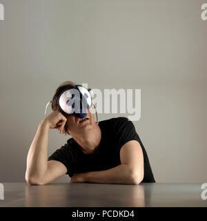 man,mask,compound eye - Stock Image