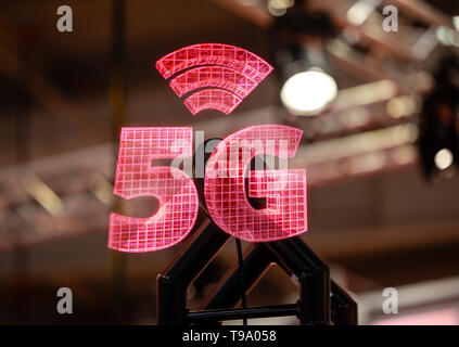 31.03.2019, Hannover, Lower Saxony, Germany - 5G projection at the Hannover Fair. 00X190331D025CAROEX.JPG [MODEL RELEASE: NO, PROPERTY RELEASE: NO (c) - Stock Image