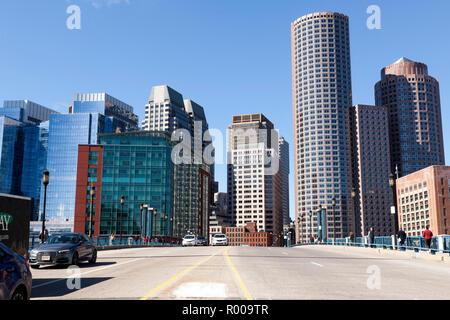 Aerial view of Boston skyline and the Seaport boulevard bridge Massachusetts USA - Stock Image