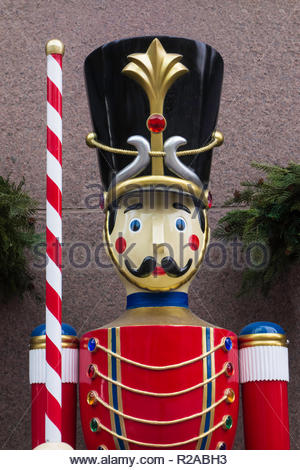 Nutcracker doll part of Christmas decorations - Stock Image