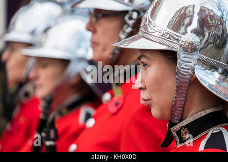 Wolverhampton, West Midlands Sunday 12th November 2017 Members of the West Midlands fire brigade band take part - Stock Image