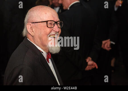 Riga, Latvia. 8th July 2019. Knuts Skujenieks, Latvian poet, during Reception in honour of the inauguration of President of Latvia Mr Egils Levits accompanied by First Lady of Latvia Mrs Andra Levite. Credit: Gints Ivuskans/Alamy Live News - Stock Image