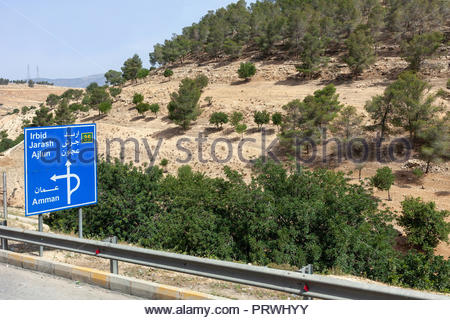 Highway Road Sign in Jordan - Amman, Irbid, Jarash, and Ajlun - Stock Image
