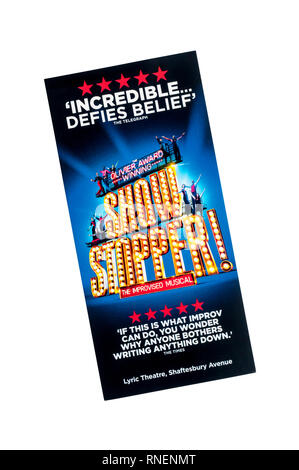 Promotional flyer for Showstopper! The Improvised Musical at the Lyric Theatre. - Stock Image
