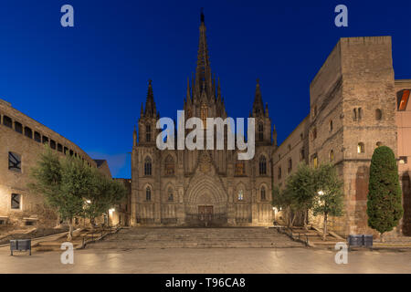 Panorama of Barcelona Cathedral of the Holy Cross and Saint Eulalia during morning blue hour, Barri Gothic Quarter in Barcelona, Catalonia, Spain. - Stock Image