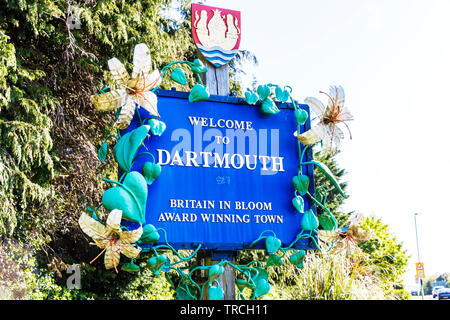 Welcome to Dartmouth sign, Dartmouth, Devon, UK, England, Dartmouth Devon, Dartmouth UK, Dartmouth sign, sign, signs, Welcome, Dartmouth Town Devon UK - Stock Image