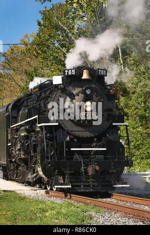 Nickel Plate Road no. 765 is a 2-8-4 'Berkshire' type steam locomotive built for the Nickel Plate Road in 1944 by the Lima Locomotive Works in Lima, O - Stock Image