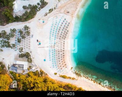 The beautiful Porto Vathy beach in Thasos or Thasos, Greece at sunrise - Stock Image