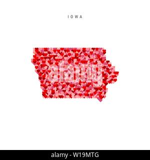 I Love Iowa. Red and Pink Hearts Pattern Vector Map of Iowa Isolated on White Background. - Stock Image