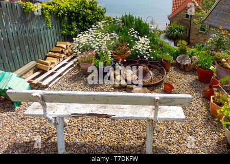 A typical charming small garden in a holiday cottage with a bench seat overlooking the sea in Runswick Bay North Yorkshire - Stock Image