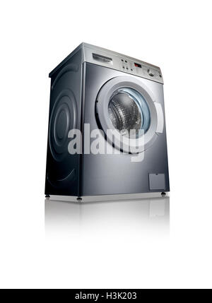 A shot of a washing machine with reflection on a white background. - Stock Image