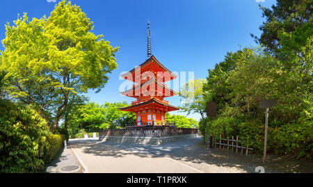View to Kiyomizu-dera Temple complex with Pagoda in Kyoto, Japan - Stock Image