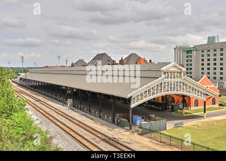 Restored National Historic Landmark of Union Station, old historical train shed or train depot in Montgomery Alabama, USA. - Stock Image