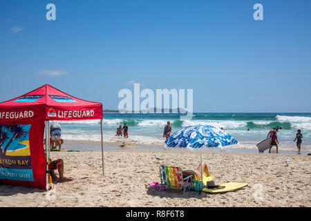Byron Bay, Broken Head beach with lifeguard surf rescue station,New South Wales,Australia - Stock Image