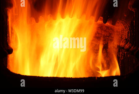 Furnace with fire - Stock Image