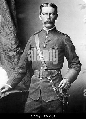Kitchener, 1885 portrait photograph by Bassano of the English soldier, General and Field Marshall, later ennobled - Stock Image