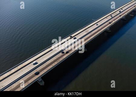 Aerial view of the Ketelbrug is bridge spanning the Ketel-lake between the Noordoostpolder and the Eastern Flevopolder - Stock Image