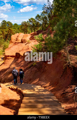 Large colorful ochre deposits, located in Roussillon, small Provensal town in  Natural Regional Park of Luberon, South of France, pigment for paint - Stock Image