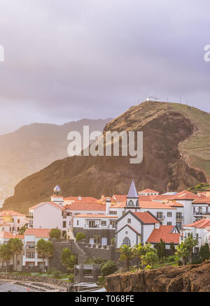 View of Canical, a town in the Madeira island, Portugal, at sunset. - Stock Image