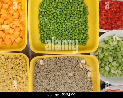 Bowls of fresh and diced vegetables. - Stock Image