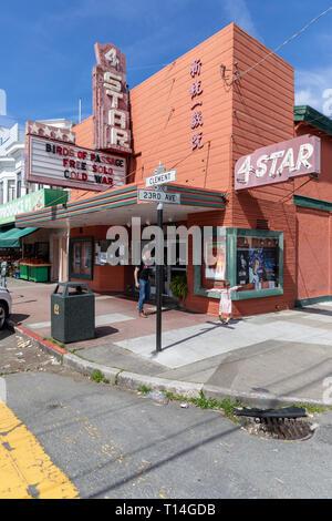 Four Star Theatre, cinema, Clement Street, San Francisco, California, USA - Stock Image