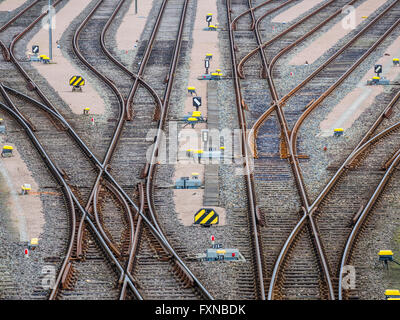 Parallel rails,  railway switches, multiple directions, Hamburg harbor, Germany - Stock Image