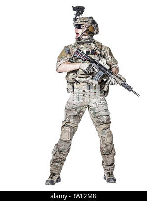 Elite member of U.S. Army rangers shouting in action. - Stock Image