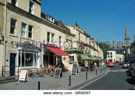 Widcombe Street in the city of Bath, UK. - Stock Image