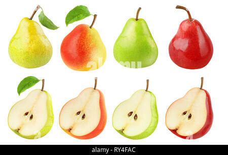 Isolated pears collection. Fresh pears of different colors, whole fruits and halves isolated on white background with clipping path - Stock Image