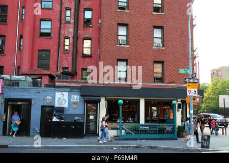 NEW YORK, NY - JUNE 18: 2nd Avenue F/M subway entrance at the corner of Allen and East Houston Street in Lower Manhattan on JUNE 18th, 2017 in New Yor - Stock Image