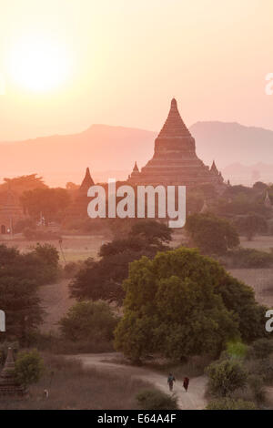 Ancient temple city of Bagan (also Pagan) at sunset, Myanmar (Burma) - Stock Image