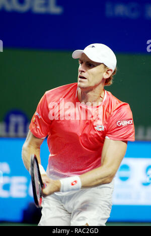 Pune, India. 3rd January 2019. Kevin Anderson of South Africa in action in the third quarter final of singles competition at Tata Open Maharashtra ATP Tennis tournament in Pune, India. Credit: Karunesh Johri/Alamy Live News - Stock Image